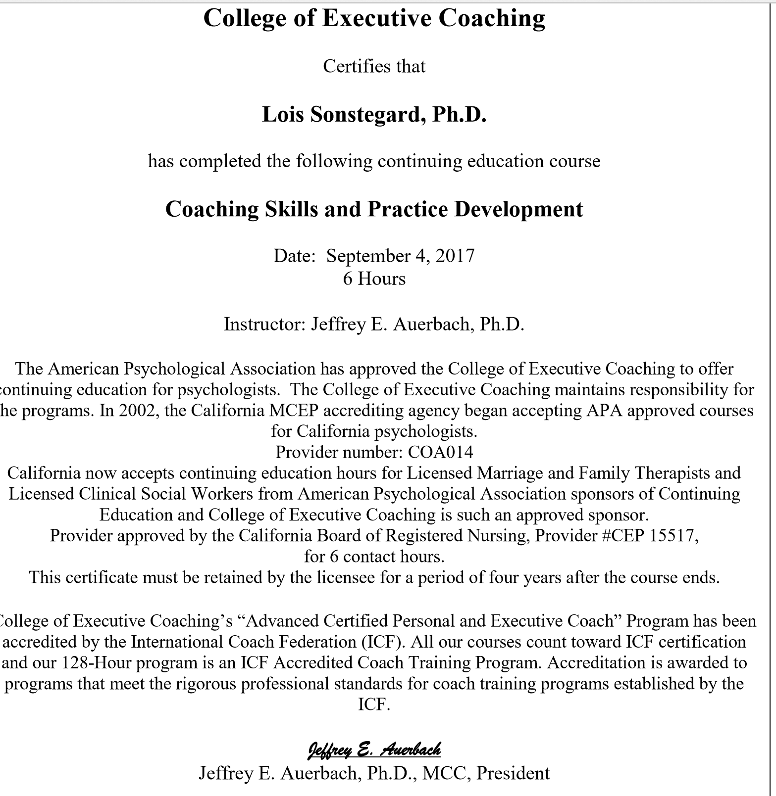 College of Executive Coaches Certification